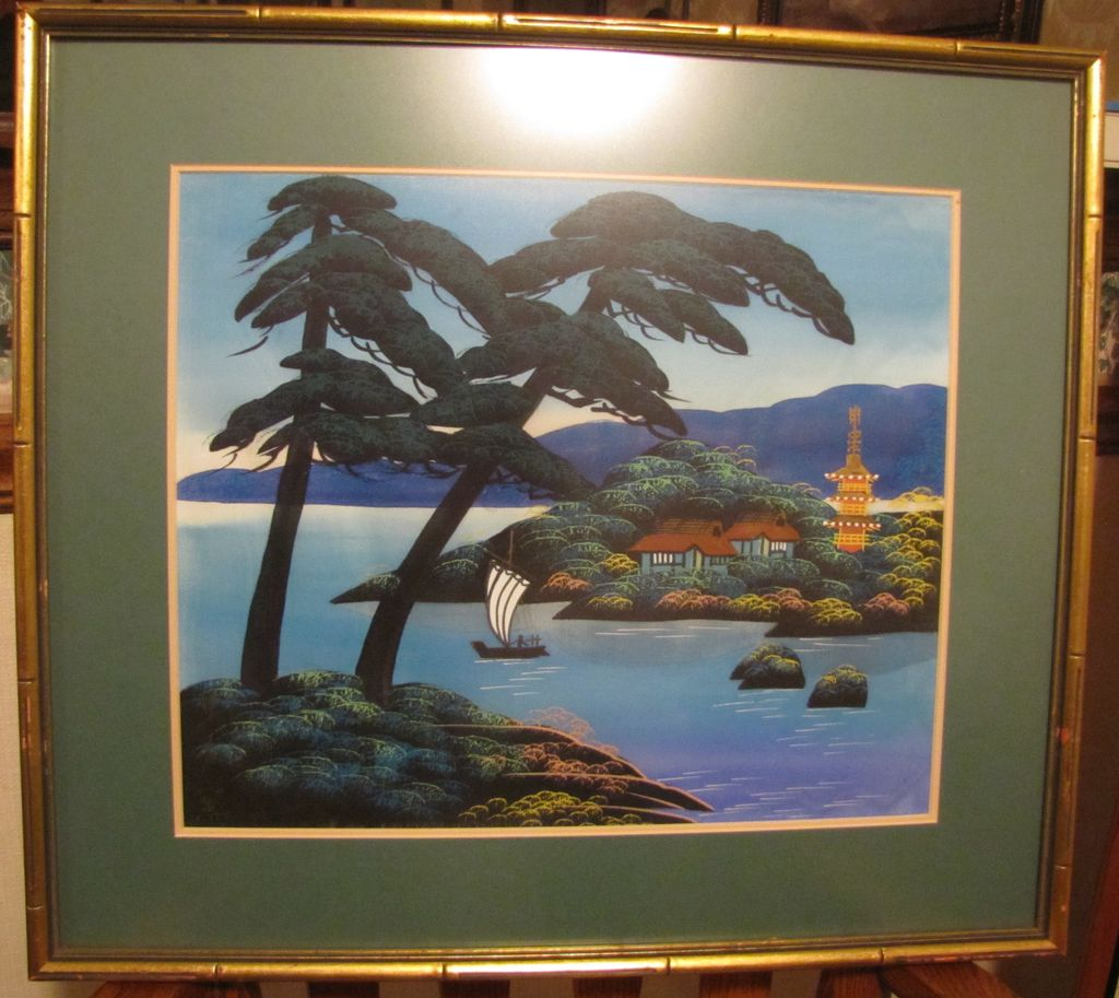 Antiqueoyster Pair Japanese Landscape Paintings On Silk