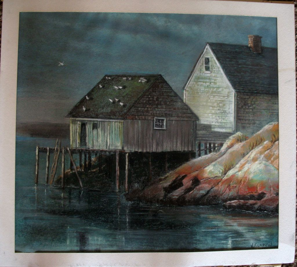 Antiqueoyster Oil Pastel Original Landscape Painting Dock