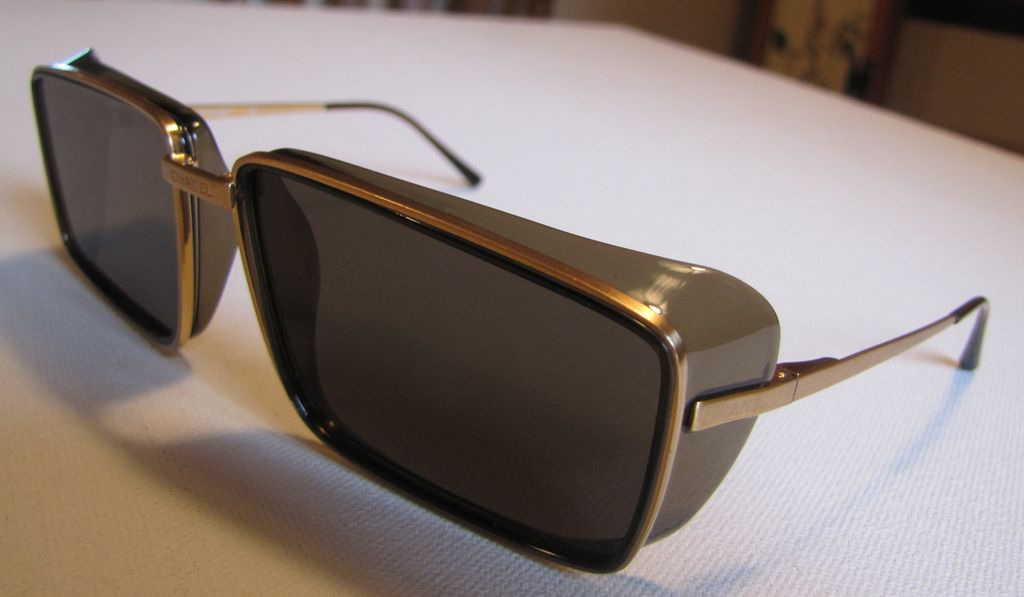 Chanel Retro Sunglasses  antiqueoyster chanel sunglasses unusual retro square with gold