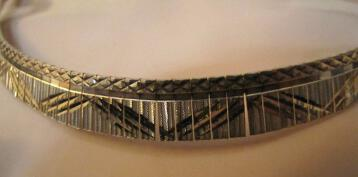 925 Sterling Silver & Gold Collar Necklace Italy Itaor