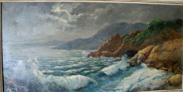 Original Oil Painting Seascape Mountains French OLD SIGNED