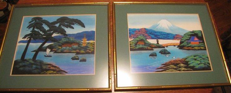 Pair Japanese Landscape Paintings on Silk Framed Signed