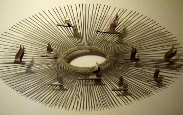 C. Jere Metal Wall Art Sculpture Mid Century Sunburst and Birds