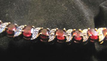 Sterling Silver 925 Ruby Diamond Bracelet - Gold Vermeil