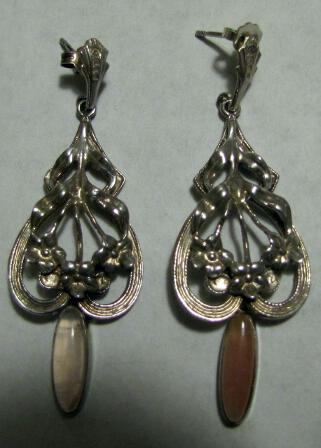 Sterling Silver Drop Earrings Victorian Design Large