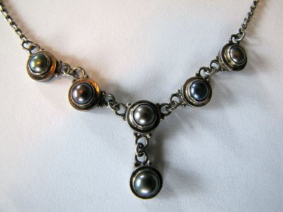 Vintage Tahitian Pearl Sterling Silver Necklace