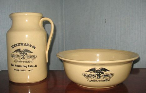 Large Old NY Druggist Medicine Pottery Pitcher Bowl Basin Set England Apothecary