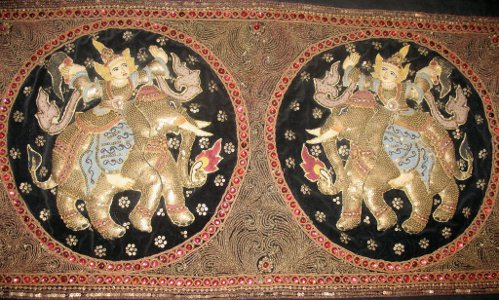 Old Burmese Tapestry (kalagas) Elephants