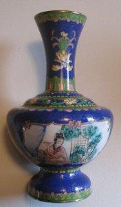 Vintage Chinese Cloisonne Vase Medallion Portrait Floral