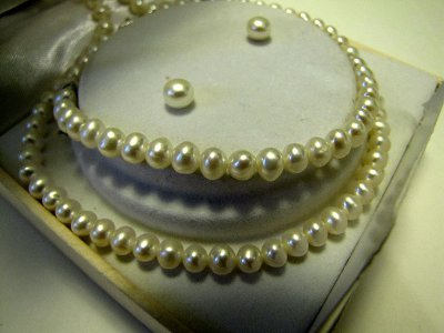 Cultured Pearl Necklace Bracelet Earrings Set Sterling Silver
