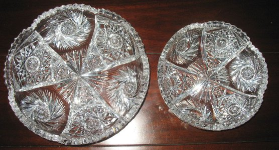 Brilliant Cut Glass Bowls Dish 2 Pc Match Pinwheel Star