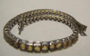 10k Solid WHITE GOLD Citrine Yellow Bracelet 8.7 grams Large
